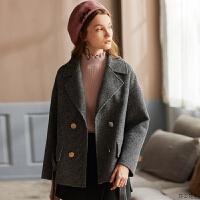 女装2018冬装新款翻领格子大衣长袖羊毛双面呢毛呢外套长袖 黑白千鸟格