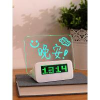 闹钟留言板写字板儿童学生电子时钟女生床头多功能创意迷你静音小