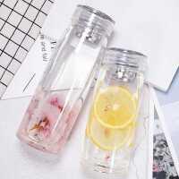 玻璃杯女士透明水杯韩国男学生便携杯子韩版清新简约过滤耐热茶杯