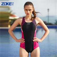 zoke洲克泳衣女连体三角保守泳装性感露背遮肚显瘦专业运动大码游泳衣114501143