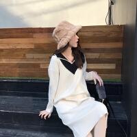 2018秋装新款女温柔风针织连衣裙成熟气质秋冬打底长袖毛衣裙子潮 白色 V领针织长裙