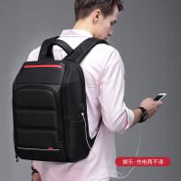 商务双肩包男士背包大容量旅行包.6寸电脑包韩版潮休闲学生书包 典雅黑