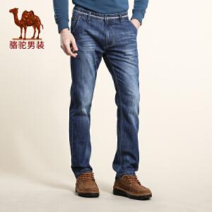 骆驼男装 春夏新款微弹中腰直筒长裤 时尚休闲牛仔裤 男