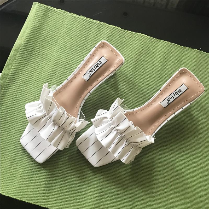 拖鞋女夏时尚外穿荷叶边可爱女生凉拖韩版透明女鞋水晶跟百搭凉鞋