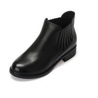 切尔西短靴女平底马丁靴女鞋真皮单靴2019新款春秋纯皮裸靴 黑色