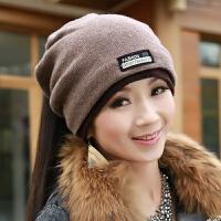 帽子女秋冬韩版时尚潮百搭女士冬天包头堆堆帽女式冬季针织毛线帽