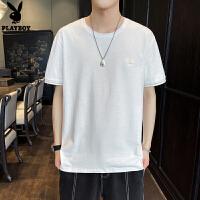 花花公子短袖t恤男夏季新款潮流T��纯棉衣服男士半袖体恤