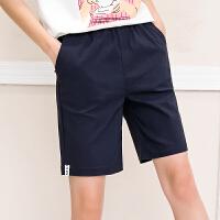夏季松紧腰显瘦字母贴布五分裤弹力休闲直筒裤