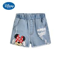 迪士尼童装女童夏天新款米奇米妮牛仔短裤洋气百搭外穿潮酷中小童