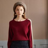 秋装女2018新款网红毛衣宽松套头韩版蕾丝拼接针织衫