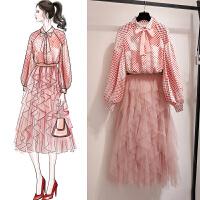 红色雪纺连衣裙女春秋春装收腰波点衬衫网纱裙仙女长裙子