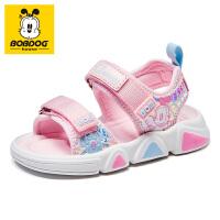 巴布豆凉鞋夏季儿童2021新款软底透气男女大小童防滑软底沙滩鞋-樱花粉