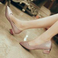 金色水晶鞋高跟鞋女低跟3cm银色伴娘婚鞋浅口粗跟尖头性感单年会