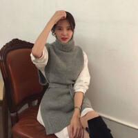 韩国2018秋冬装修身显瘦高领毛衣女套头中长款开叉背心马甲针织衫 灰色(单件毛衣 ) 均码