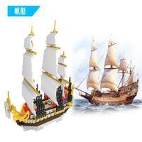 兼容乐高拼插积木加勒比 泰坦尼克号 帆船系列积木男孩子儿童益智拼装玩具礼物