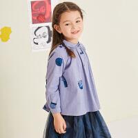 【1件3.5折价:118元】马拉丁童装女童衬衫秋冬装新款时尚图案翻领衬衫娃娃领小衫