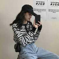 打底衫女春秋2020新款韩版修身长袖条纹针织衫网红百搭慵懒风上衣