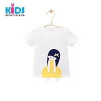 爱居兔童装儿童夏装女2018洋气棉质T恤小童上衣