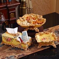美式水果盘客厅茶几装饰奢华欧式大号果盘套装干果盘三件套摆件