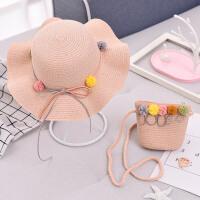 儿童帽子女夏公主沙滩帽遮阳帽女童草帽太阳帽盆帽宝宝渔夫帽