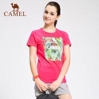 camel骆驼户外女款休闲圆领T恤 透气轻柔女士短袖T恤