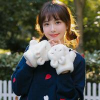 秋冬天保暖少女可爱卡通兔子韩版两用半指学生翻盖手套加厚毛绒绒
