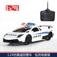 遥控车儿童汽车模型四驱车赛车灯光充电警车无线rc电动遥控玩具 1:24