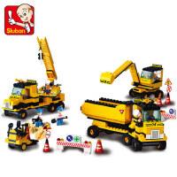 小鲁班拼装积木男孩拼插挖掘机玩具模型工程车类益智儿童5-10岁