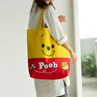 小熊维尼 可爱帆布包winnie the pooh单肩手提包女环保购物袋拉链