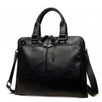 韩版公文包商务手包斜挎单肩包斜跨包男包包男士休闲包袋 大气黑色 +手包