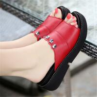 大码小码33-43坡跟拖鞋女新款韩版松糕时尚外穿厚底凉拖鞋