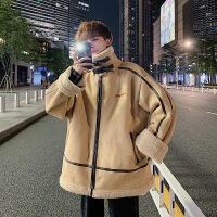 羊羔毛外套男冬季韩版保暖加绒冬装潮流加厚宽松潮牌机车棉衣