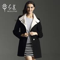 红莲 秋装新款女士英伦时尚修身中长款羊绒大衣