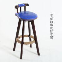 实木吧台椅美式复古吧台凳欧式高凳旋转创意酒吧椅家用高脚餐椅子