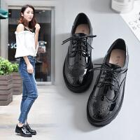布洛克女鞋英伦风厚底粗跟学院风圆头复古小皮鞋女系带黑色皮鞋女 黑色