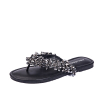 新款波西米亚夹趾沙滩凉鞋女夏学生平底夹脚水钻凉拖鞋女鞋