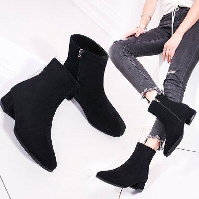 短靴女粗跟马丁靴中跟低跟3厘米圆头英伦风百搭学生加绒秋冬季潮