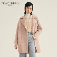 粉色双面呢大衣女中长款春装2019新款韩版翻领流行宽松毛呢外套