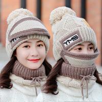 帽子女秋冬季韩版保暖防寒围脖手套百搭针织甜美可爱毛线帽套装女