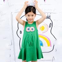 马拉丁2018夏季商场同款女大童贴布印花俏皮可爱连衣裙