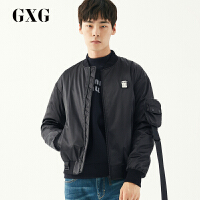 GXG男装 男士冬季时尚都市青年流行休闲黑色棉夹克外套男潮