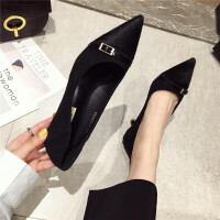 时尚韩版休闲舒适皮带扣装饰细跟女士单鞋尖头浅口女鞋