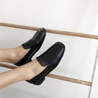 复古款设计方头低跟软底英伦牛津鞋低帮鞋单鞋女鞋