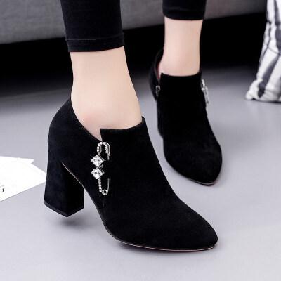 高跟时尚短靴女秋冬2018新款粗跟尖头百搭靴子磨砂及踝靴韩版女鞋 黑 色