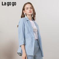 【清仓5折价351】Lagogo/拉谷谷2019春季新款时尚条纹休闲外套女IAWW42ZG08