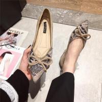 2018新款尖头浅口平底鞋韩版学生百搭蝴蝶结平跟单鞋软底舒适女鞋