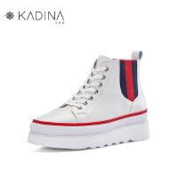 卡迪娜牛皮革松糕底运动休闲小白鞋板鞋单鞋 KLC83202