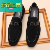 新品上市春季英伦鞋男真皮休闲皮鞋商务正装皮鞋男反绒皮磨砂皮一脚蹬