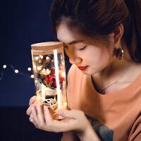 七夕节送闺蜜男女生朋友浪漫生日礼物许愿瓶玫瑰永生花玻璃罩礼盒
