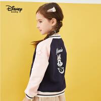 【4折�A估�r:83.6元】迪士尼女童棒球服2020秋冬新款�����和�洋�饧咏q童�b上衣外套潮